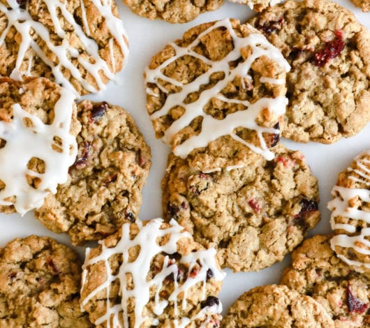 oatmeal cranberry cookies with confectioners glaze