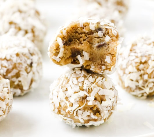 edible chocolate chunk cookie dough rolled in coconut