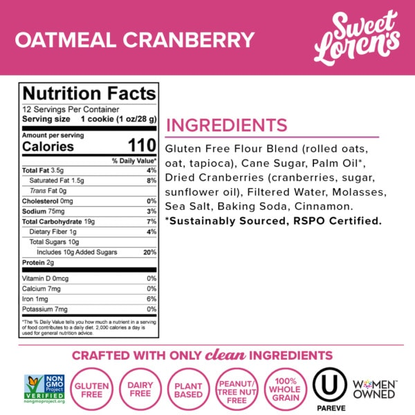 oatmeal cranberry facts panel