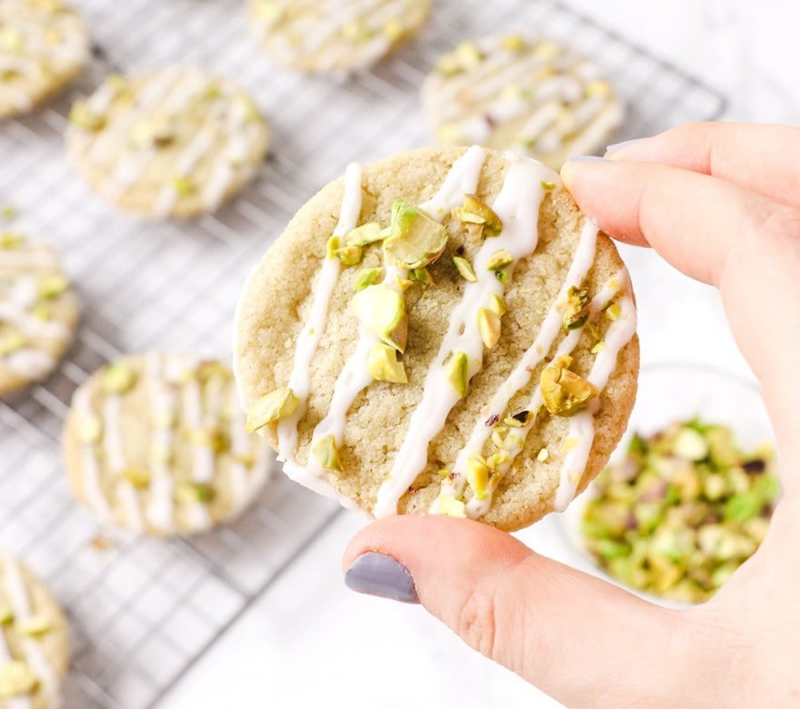 Glazed Sugar Cookies with Pistachios